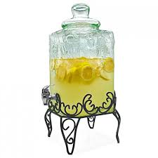 Extraordinary Glass Beverage Dispenser With Wrought Iron Stand And Crystal Plus Lemon Fruit Water