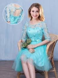 Aqua Blue Empire Tulle Scoop Half Sleeves Lace And Appliques Bowknot Knee Length Up