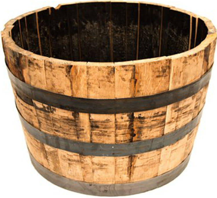 "Real Wood Products HWB Half Oak Whiskey Barrel Planter - 25"" Dia"