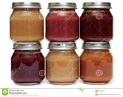 six aliments pour bébé dans le pot en verre d isolement sur le