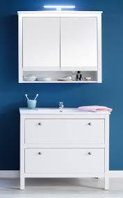 badmöbel set ole landhaus weiß 3 teilig mit unterschrank keramik waschbecken und spiegelschrank 81 x 192 cm