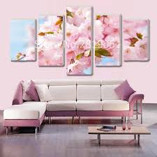 2017 New Arrival 5 Pieces Pink Sakura Flowers Oil Spray Painting On Canvas Unframed HD Living Room Wall Decoration