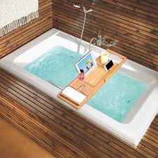 expandable natural bamboo bathtub caddy book tablet phone holder
