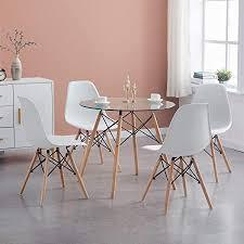 hj wedoo esszimmergruppe moderner glastisch rund esstisch mit 4 stühlen geeignet für esszimmer küche wohnzimmer transparent weiß