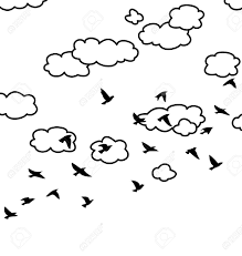 Black And White Drawing Flock Flying Birds And Clouds In
