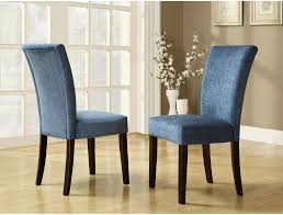 homelegance royal blue chenille parson chairs espresso set of