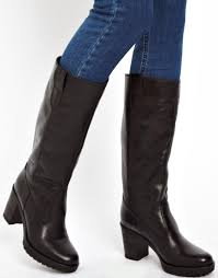asos colorado leather knee high boots in black lyst