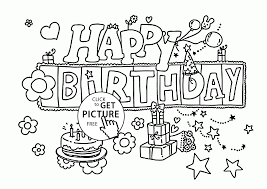 Funny Happy Birthday Letters Card Coloring Page For Kids Holiday