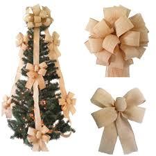 Burlap Tree Topper Bow Set