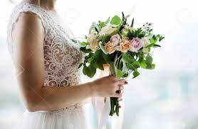 Bride Holding Stylish Wedding Flowers Elegance Rustic Style Pastel Colors Bouquet In Woman Hands Stock