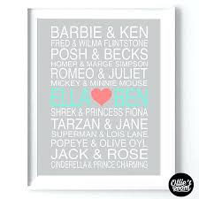 Personalized Couples Wall Art Famous Personalised Print Decor Typography