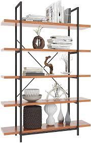 himimi bücherregal standregal eckregal im industrie design 5 fächer regal für büro wohnzimmer schlafzimmer 120 x 30 x 180cm