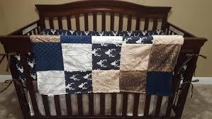 Arrow Crib Bedding by Woodland Boy Crib Bedding Navy Buck Deer Skin Minky White Tan