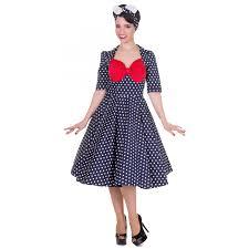 lillian vintage dress in navy blue polka dots red