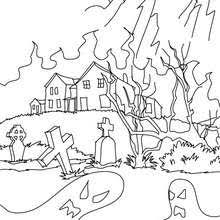 Scary Haunted Mansion Old House Coloring Page