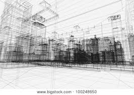 City Buildings Project 3d Wireframe Print Design Architecture Urban Plan Real