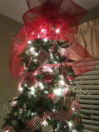 Christmas Tree Toppers Pinterest by Deco Mesh Tree Topper 1 Make A Bow 4 Times That Have Big Loops 2