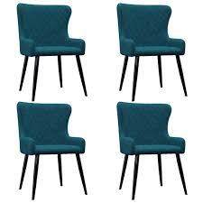 vidaxl esszimmerstühle 4 stk blau samt gitoparts