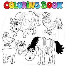 Cartoon Coloring Book Farm Animals