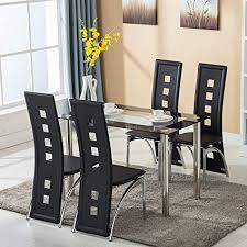 Mecor Dining Room Table Set 5 Piece Glass Kitchen And Leather Chairs Furniture