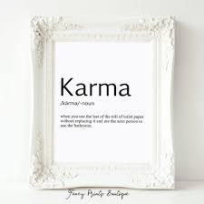 Funny Bathroom Art Etsy by Karma Definition Print Toilet Paper Art Bathroom Art Karma
