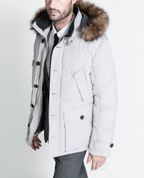 zara white three quarter length coat with fur hood in white for