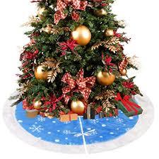 D FantiX 36 Inch Velvet Christmas Tree Skirt Decorations Blue And White