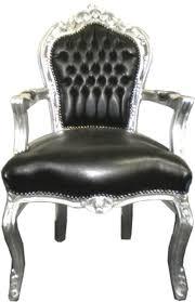 barock esszimmerstuhl schwarz silber lederoptik mit armlehnen barockgroßhandel de