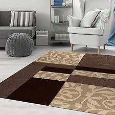 moderner wohnzimmer teppich design mit blumenmuster kariert konturenschnitt in braun beige teppich home 120x170 cm