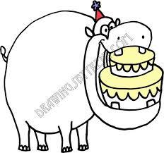 bday hippo cake grande