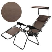 XtremepowerUS Zero Gravity Chair Adjustable Reclining Chair Pool Patio  Outdoor Lounge Chairs W/ Cup Holder (Brown-Single W/ Sunshade) Phi Villa Outdoor Patio Metal Adjustable Relaxing Recliner Lounge Chair With Cushion Best Value Wicker Recliners The Choice Products Foldable Zero Gravity Rocking Wheadrest Pillow Black Wooden Recling Beach Pool Sun Lounger Buy Loungerwooden Chairwooden Product On Details About 2pc Folding Chairs Yard Khaki Goplus Wutility Tray Beige Headrest Freeport Park Southwold Chaise Yardeen 2 Pack Poolside