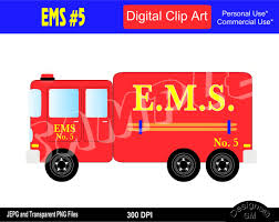 EMS Truck, EMS Truck Clipart, EMS Clipart, Emergency Medical Services,  Commercial Personal Use Instant Download