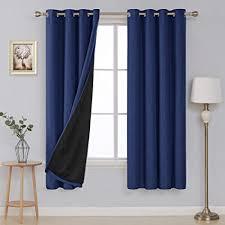 deconovo blickdicht leinenoptik vorhang schlafzimmer thermogardine ösenschal 180x140 cm dunkelblau 2er set