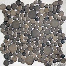 12x12 Brown Pebble Ceramic Mosaic Tiles For Kitchen Bathroom Floor