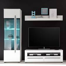 tv wohnwand colorado 61 in weiß hochglanz und schwarzen relinggriffen