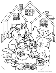 Cat Color Page Animal Coloring Pages Plate Sheetprintable