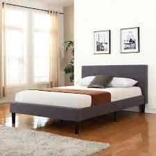 King Platform Bed With Tufted Headboard by Amazon Com Deluxe Tufted Grey Platform Bed Frame With Wooden