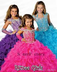 2017 custom made purple girls pageant dresses with orange beaded