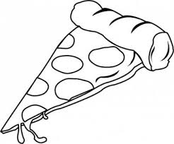 Cheese pizza slice black and white clipart
