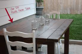 Custom DIY Solid Wood Outdoor Farmhouse Dining Table With Mason Jars Centerpieces And White Ladder Chairs For Area In Backyard Patio Ideas