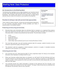 Data Protection And Research Briefing Note Template Credit Excel Finition Review Risk