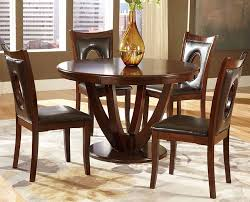 Solid Wood Round Dining Table Keyhole Parson Chairs