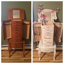 Refinished Jewelry Armoire French Shabby Chic Distressed Wood Using Chalk Paint And Spray Painted