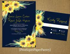 Rustic Fall Wedding InvitationsSunflowers On A Navy Background RomanticElegantTraditional