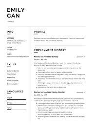 Restaurant Hostess Resume Sample