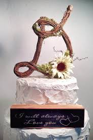 Letter D Rustic Twig Wedding Cake Topper