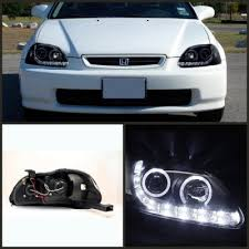 honda civic 1996 1998 black halo projector headlights with led