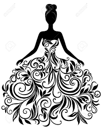 Vector Silhouette Of Young Woman In Eleg