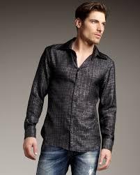just cavalli crocodile print silk shirt in black for men lyst