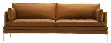 canap made in design canapé droit william cuir 3 places l 224 cm marron clair gold